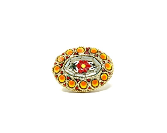 Vintage Brooch Micro Mosaic Pin Red Flower Central Design Oval Brooch Gold Tone Orange Yellow Tiny Mosaic Italian Jewelry Modern Micromosaic