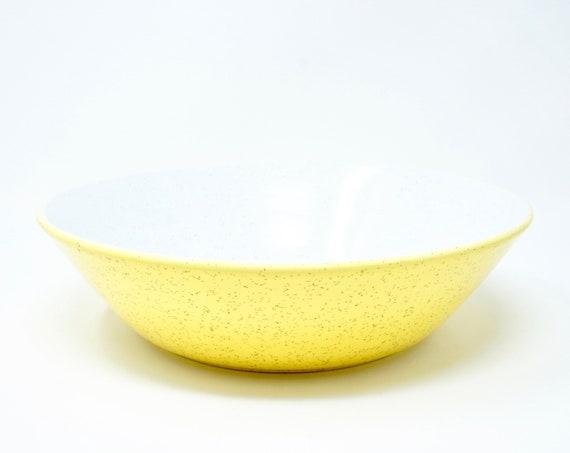 Vintage Serving Bowl Duplex Yellow Mikasa Shape by Ben Seibel 60s Large Bowl Bright Yellow Flecked Interior White Interior Ceramic Oven Safe