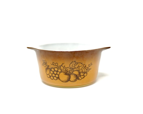 Vintage Pyrex Old Orchard 473 1 Quart Storage Set Smallest Container No Lid Light Orange Brown Fruit 1970s Corning Small Bowl with Handles
