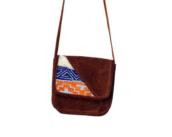 Vintage Purse Brown Suede with Orange and Blue Kilim Fabric Small Shoulder Bag Crossbody Long Strap Hide Snap Closure Inner Zippered Pocket