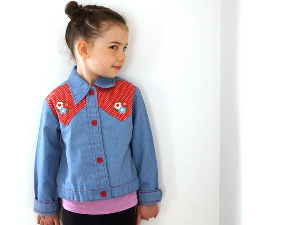 Vintage Kid's Demin Jacket Floral Embroidery Button Front Shirt Western Style Red White Polka Dot Yoke Children's 6 1970s Sears Perma-Prest