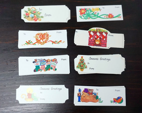 Vintage Gift Tags 80s Lot of 65 Assorted Gift Labels Presents Christmas Tags White Wreaths Poinsettias Stocking Balls Tiny Gift Cards Unused