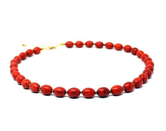 """Vintage Red Turquoise Necklace Faux Bead Strand Engineered Stone Crimson Black Vein Oblong Beads Alternated Small Gold Tone Spacer Beads 24"""""""