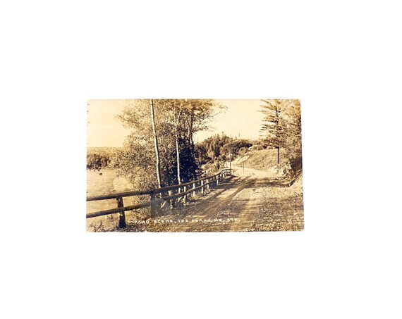 Antique Postcard Maine Road Scene The Forks ME Real Photograph Post Card Eastern Illustrating Co Belfast Maine Unused RPPC R Herman Cassens