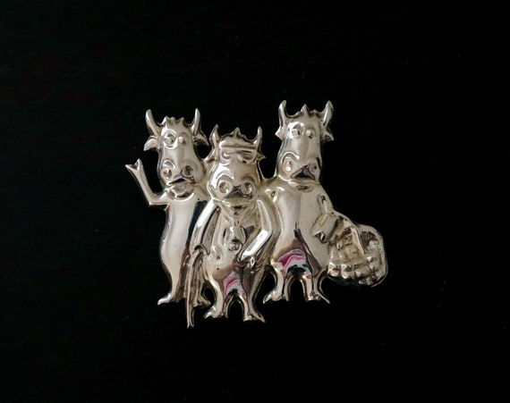 Vintage 925 Silver Cow Brooch 3 Bovines Standing with Cane Basket Hollow Sterling Cow Pin Large Unusual Anthropomorphic Jewelry Farm Themed