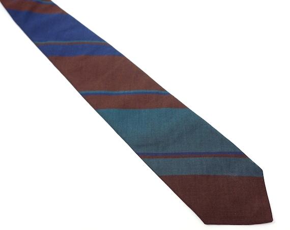 Vintage Tie Hunter Green Brown Blue Tie Diagonal Stripe Necktie Polo by Ralph Lauren Cotton Tie