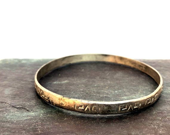Vintage Bangle Bracelet Alpaca Silver Etched Ram Horn Design Abstracted Mexican Alloy Metal Jewelry Inca Look Pattern Thin Bracelet Alpacca