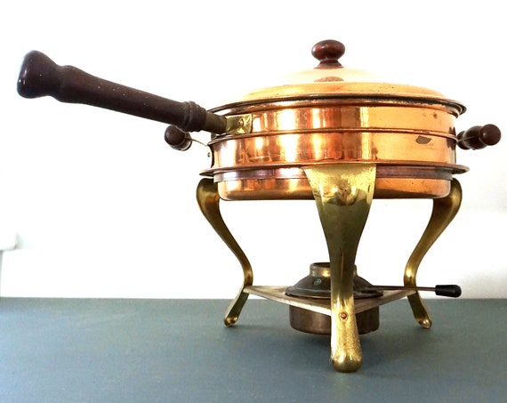 Vintage Copper Chafing Pots With Stand Double Boiler 5 Piece Set Frying Pan Wood Handles Pot Brass Stand with Burner Warming Pan Set 70s
