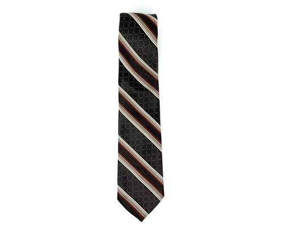 Vintage Necktie Brown Diagonal Stripe Tie Delio Collection Schiaparelli Tie Mid Century Polyester Tie Earth Tones Menswear