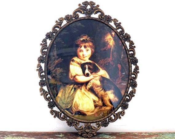 Vintage Girl With Dog Framed Miss Jane Bowles Sir Joshua Reynolds 1700s Mid Century Reproduction Italian Rococo Gold Frame Oval Convex Glass