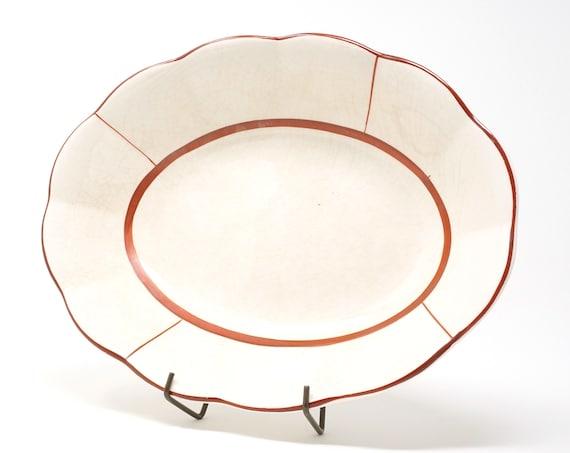 Vintage Petalware Bowl Rare Red Rim Pacific China W.S. George Georgette Scalloped Semi-Porcelain Dinnerware Serving Piece Maroon Edge Crazed