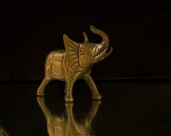 Vintage Brass Elephant Figurine Leonard Towle Heavy Solid Brass Unpolished Pachyderm Statue 1970s Boho Decor