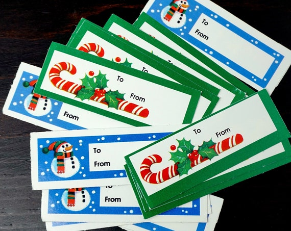Vintage Gift Tags 17 Assorted 80s Paper Gift Labels For Presents Christmas Tags Green Candy Cane Blue Snow Man To/From Tag Retro Gift Labels