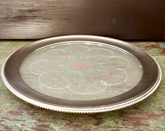 Vintage Cake Plate Silverplated Rim Embroidered Tulle Lace Sandwiched Between Glass Insert Mid Century Tray Round with Feet Made In Germany