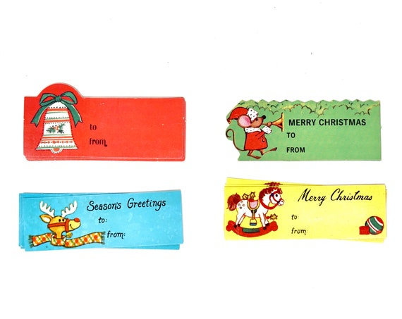 Vintage Gift Tags Assorted 14 Qty 60s Paper Labels Presents Christmas Reindeer Rocking Horse Bells Santa Mouse Tiny Gift Cards Retro Holiday