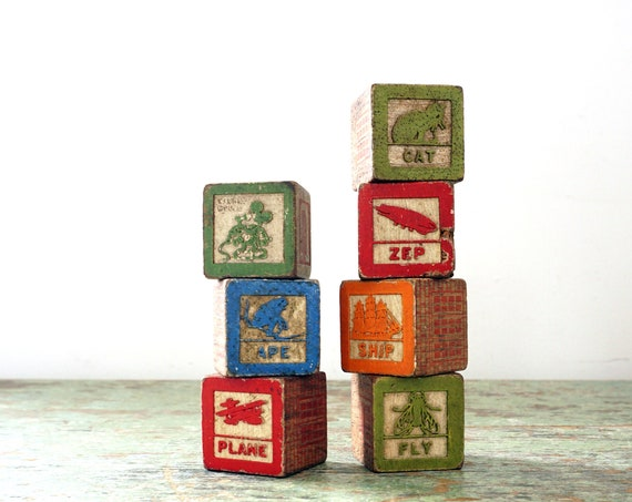 Vintage Toy Wood Blocks Alphabet Painted Blocks Carved Animals Vehicles Mickey Pluto Multicolor 7 Qty for Play, Crafting, Signs