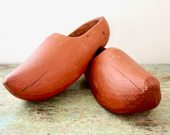 Vintage Clogs Wooden Shoes Painted Rust Red Large Wood Clog Pair Rustic Distressed Farmhouse Décor Old World Europe Netherlands Holland Shoe