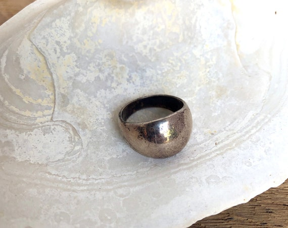 """Vintage Silver Ring Convex Wide Face Silver Dome Ring Size 5 925 Sterling Silver Modernist Style Jewelry Simple Ring Marked """"A"""""""