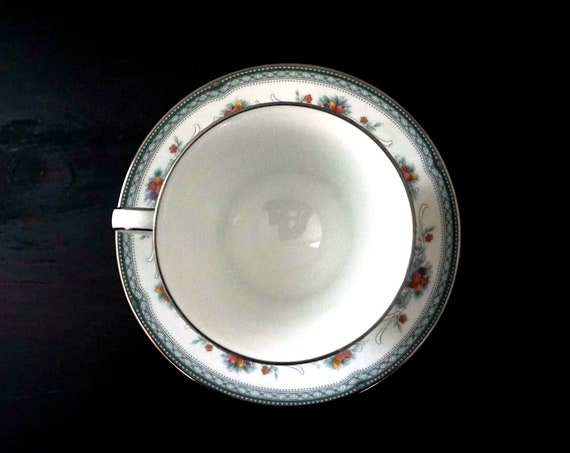 Vintage Brookvale Tea Cup and Saucer Noritake Legendary Line Pale Blue Silver Rim Fruit & Floral Rim Platinum Trim Discontinued Noritake 90s