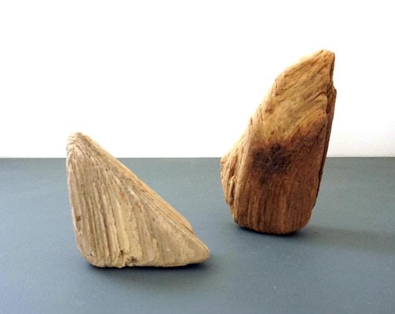 Driftwood Pieces Sea Worn Sun Bleached Pair Lumber Chunks Triangular Wood Grain Beach Find Long Island Sound Salvaged Supply Found Objects