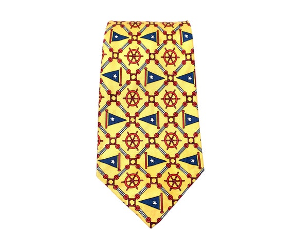 Vintage Nautical Tie Yellow Silk Red Ship Wheels Blue Flags Boating Necktie Menswear 1980s Italian Silk Tie Sold By Gimbels Gift for Dad