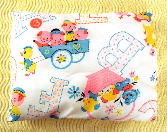 Vintage Baby's Pillow Puppies Piglets Ducklings Bright Pastels Crib Pillow Nylon Cover Alphabet Letters Nursery Decor Kitsch 3 Little Pigs