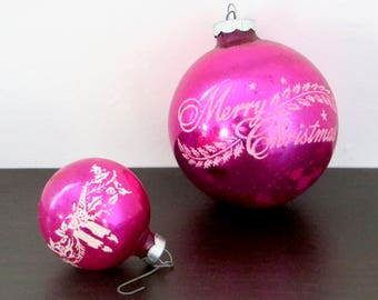 Vintage Bright Pink Ornaments Shiny Brite Merry Christmas and Rauch Tiny Magenta Ball Set of 2