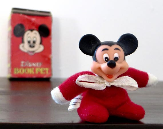 Vintage Mickey Disney Book Pet NO. 1 Collectible Tiny Mickey Mouse Figurine 1970s