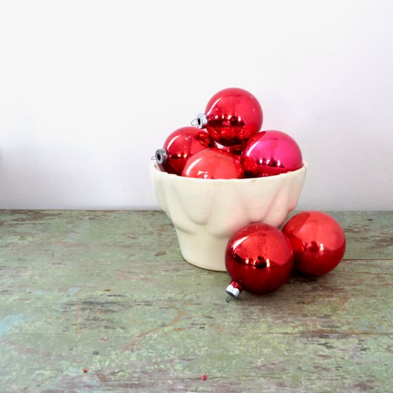 Vintage Red Christmas Ball Ornaments Eight Berry Red Mercury Glass Balls Oxidized