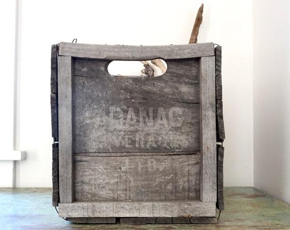 Vintage Adanac Beverages Crate Rare Older Wood Soda Crate Ginger Ale Canada Grey Distressed Weathered Wood 1950s