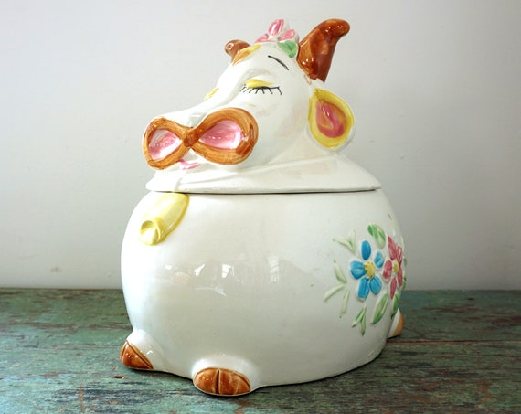 Vintage Cow Tureen Ceramic Hand Painted Silly Bull with Horns Pink Blue Flowers Yellow Cow Bell Large Soup Crock Pottery Japan Rare Kitsch