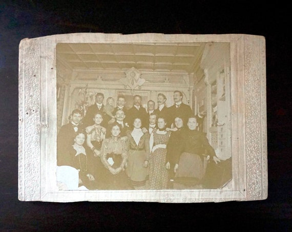 Antique Family Photograph Blattler Family Holiday Photo Early 1900s Astoria Queens Sepia Tone Turn of the Century Edwardian Era Clothes Room