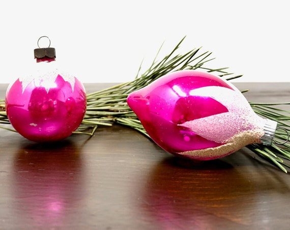 Vintage Pink Christmas Balls Silvered Magenta Ornament Shiny Brite Teardrop Bulb Snow Cap White Mica Glitter Pink Small Ball Made in US of A