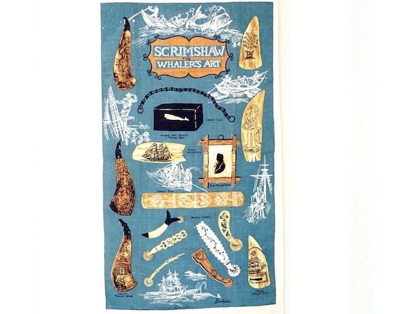Vintage Tea Towel Whaler's Art Linen Kay Dee Dishtowel Unused Designed by Bonheur Scrimshaw Teal Blue Brown Whaling Theme Woven Wall Hanging
