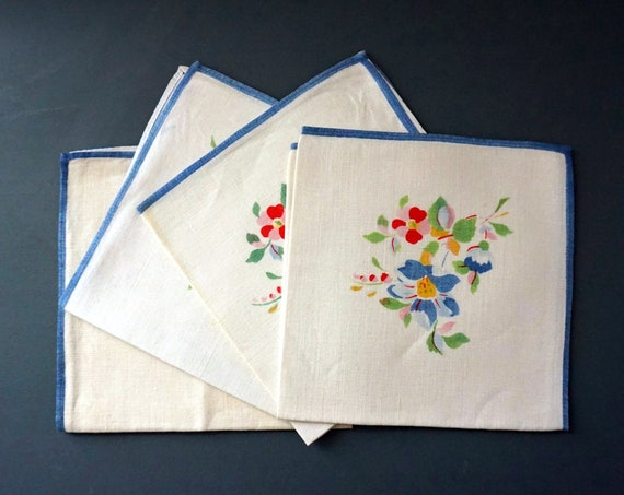 Vintage Linen Napkins Floral Blue Trim Off White Square Napkins Set of 4 Bright Multicolor Flower Clusters Corner Red Pink Yellow Green 40s