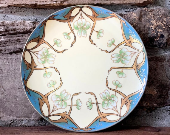 Antique Plate Art Nouveau Iris Motif Decorative Dish Ornate Hand Painted Gold on Butter Yellow Matte Glaze Aqua Porcelain Nippon Meito China