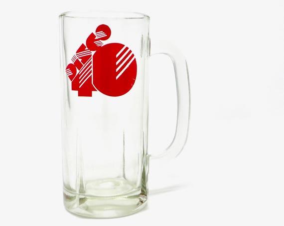 Vintage Disco Beer Mug Glass Red Disco 49 1970s Pint Glass Handle Glassware