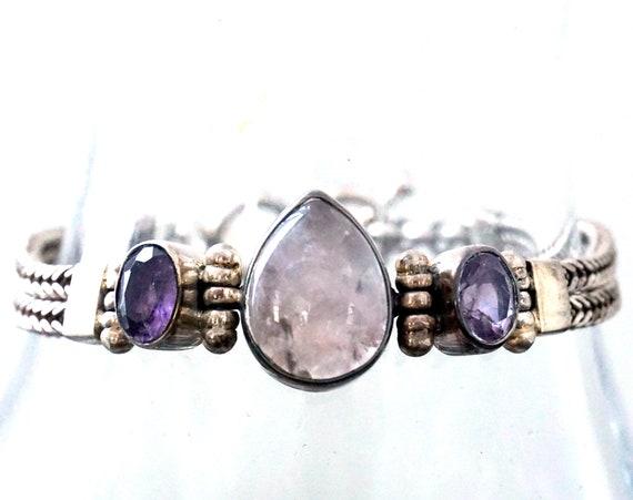 Vintage Bracelet Rose Quartz Cabochon Teardrop Shape Flanked by Amethyst Flat Braided Bracelet Pink Purple Stone 925 Sterling Toggle Clasp