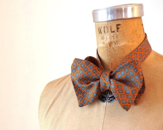 Vintage Bow Tie Ochre Aqua Small Squares Pattern Blue Light Orange Silk Feel Necktie Wedding Formal Attire Menswear Patterned Bowtie