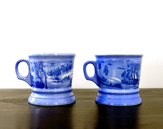 Vintage Mugs Currier & Ives Blue White Winter Scenes A Home In The Wilderness The Old Homestead In Winter Set 80s Antique Repro Shaving Mugs