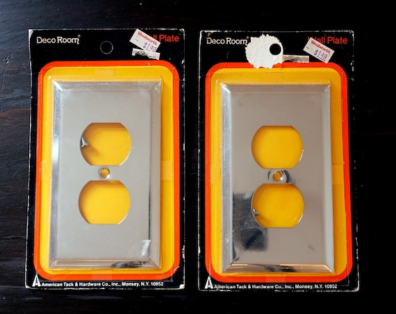 Vintage Chrome Outlet Cover Plates Matching Pair 1970s Deco Room Wall Plate American Tack & Hardware Co New Old Stock in Original Packaging