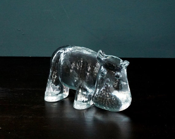 Vintage Glass Hippo Kosta Boda Paperweight Clear Swedish Glasworks Bertil Vallien Zoo Series Hippopotamus Figurine Art Glass 1970s Sweden