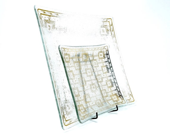 Vintage Georges Briard Trays Glass Gold Leaf and Floral Design 1960s Set of Two Square Dishes Mid Century Serving Textured Glass Raised Edge