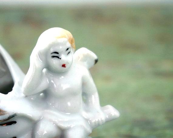 Vintage Cherub with Shell Ceramic Tiny Vase White with Gold Blonde Cupid Figurine Nautical Cherub Valentine's Day