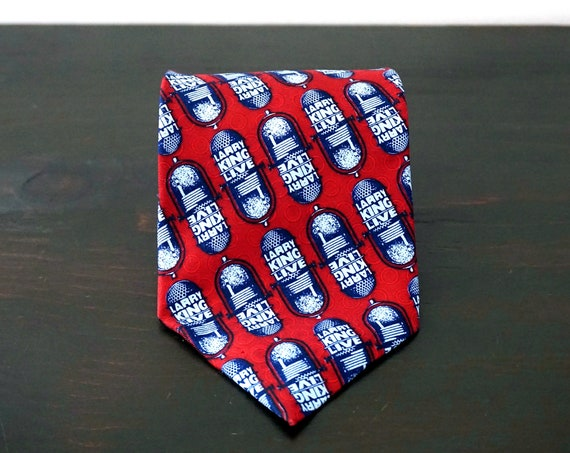 Vintage Larry King Live Tie Silk Burgundy Blue Microphone Logo Graphic Repeating Print Wide Silk Necktie Famous Interviewer Rare Find