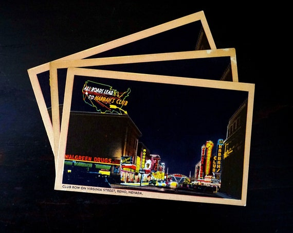 Vintage Postcard Reno Nevada Club Row Virginia Street at Night Neon Lights Harrahs Photograph 1940s Unused Post Card Colourpicture Americana