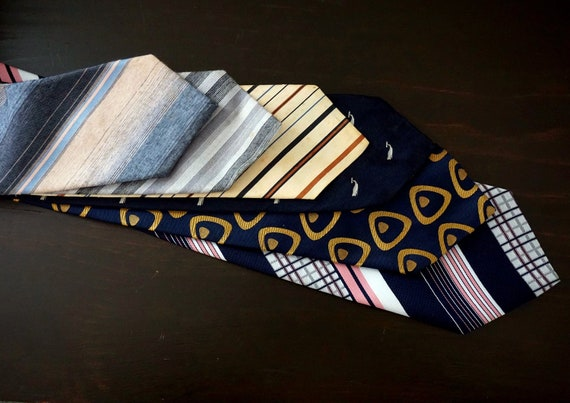 Vintage Ties Lot of 6 Retro Neckties Striped Pink Navy Whale Neck Tie Silk Polyester Blend Fabric Old Ties to Repurpose Imperfections As Is