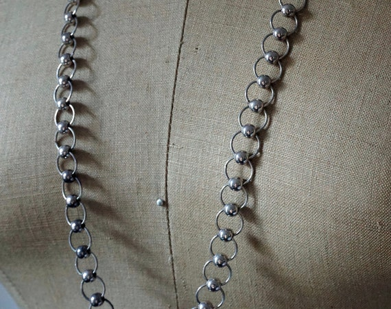 """Vintage Silver Necklace Chain Circle Rings with Beads 31"""" Long Necklace Lobster Clasp"""