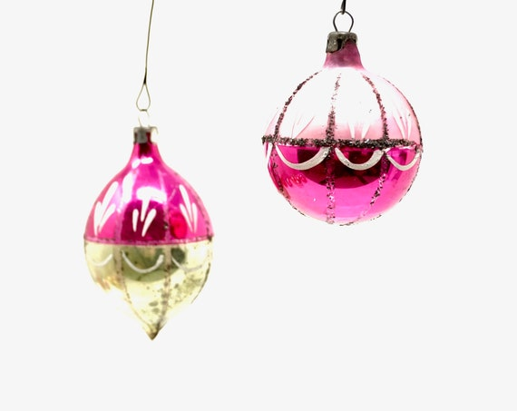 Vintage Christmas Ornaments Pink Small Glass Ball Hand Painted Foiled Magenta Gold Teardrop Bulb White Paint Made in Poland 1950s Tree Trim