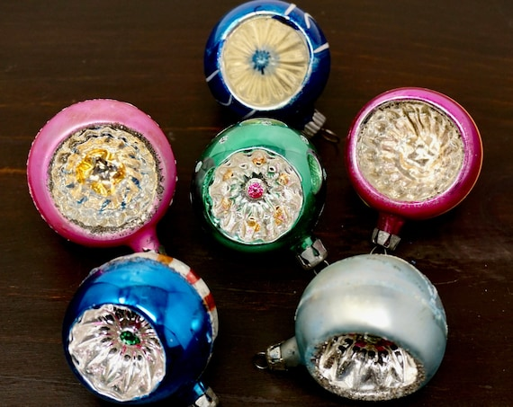 Vintage Polish Ornaments Indent Balls 40s Silvered Multicolor Glass Ball Set of 6 Pink Blue Green Silver Interiors Hand Painted Stripes Dots